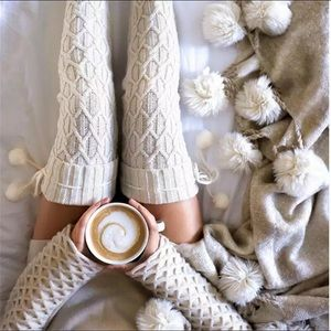 Accessories - White Knitted Knee High Socks
